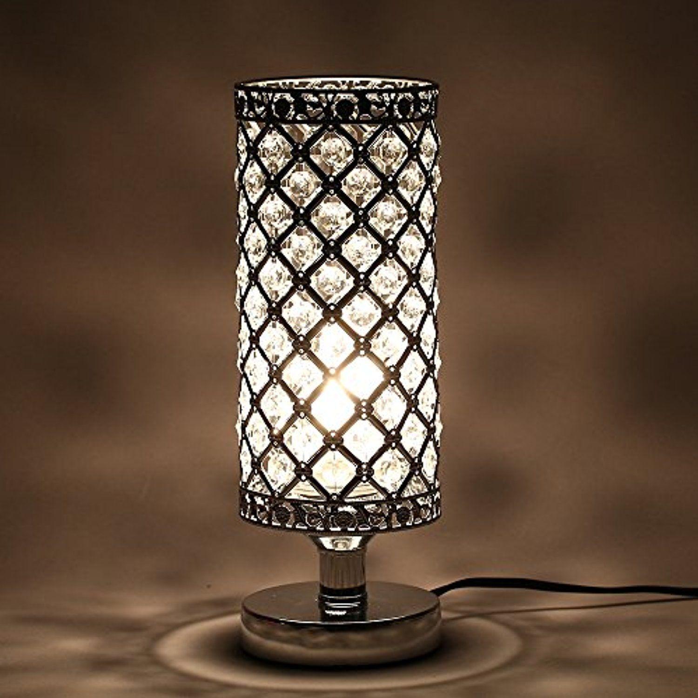 Tomshine Table Lamp Modern Nightstand Lights For Bedroom Crystal
