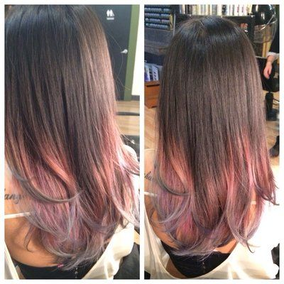Brown To Pastel Pink To Silver Lavender Ombre Hair Color