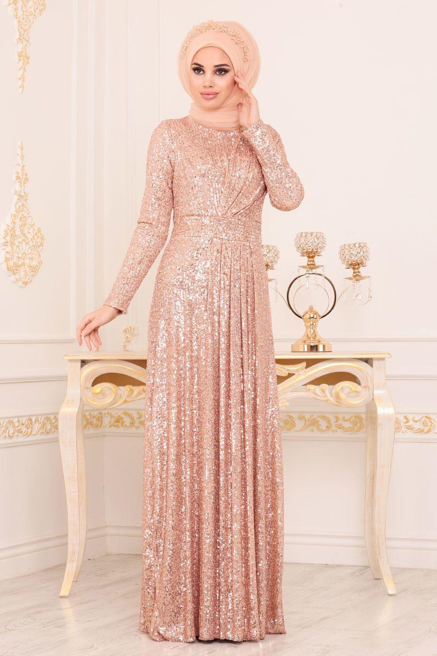 Nayla Collection Pul Payetli Gold Tesettur Abiye Elbise 9106gold Aksamustu Giysileri The Dress Elbise