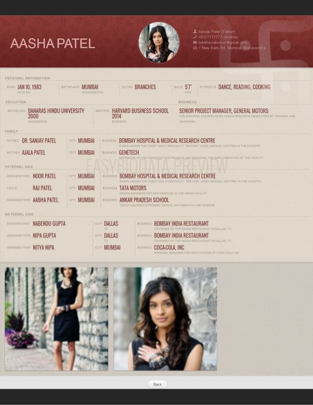 Beautiful Biodata format from slideshare! Made with www - matrimonial resume format