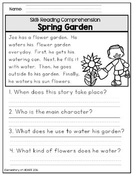 Close Reading Comprehension Printable Worksheets- Spring | Therapy ...