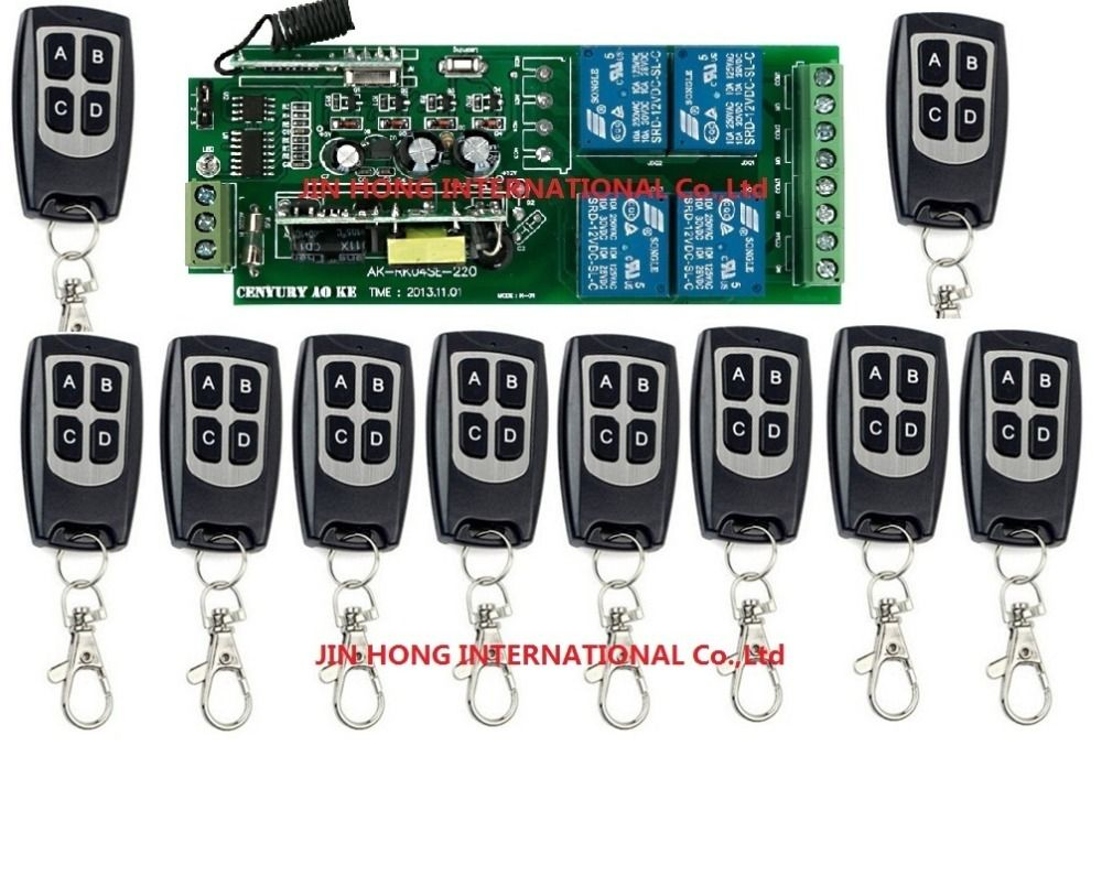 110v 220v 4ch Rf Wireless Remote Control Relay Switch Security Circuit System Garage Doors Gate Electric