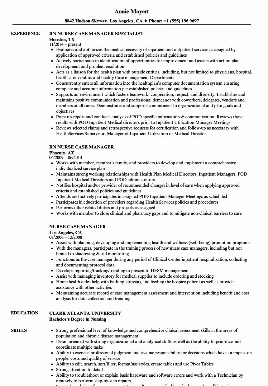 Case Manager Resume Examples Lovely Nurse Case Manager