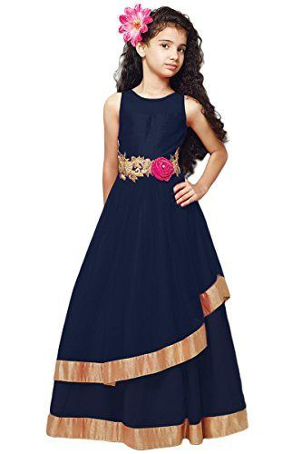 3c45db517a Cartyshop navy blue softnet partywear girl frock gown (8-10 years ...
