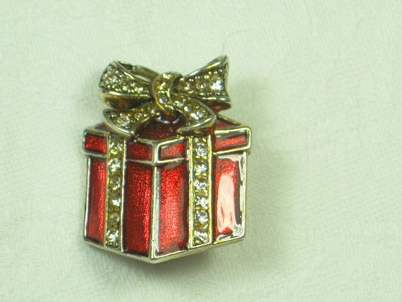 Vintage Christmas Pin Holiday Gift Wrapped Box in Enamel & Rhnestones!  by LavenderGardenCottag