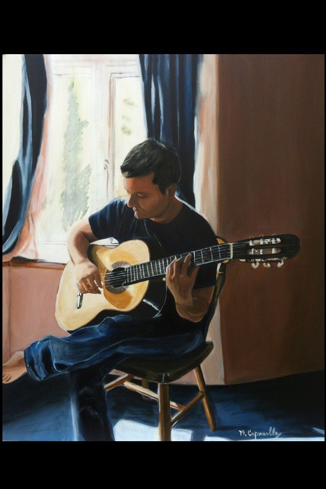 Ragazzo con chitarra, olio su tela 50x70