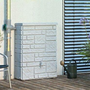 Regentonne eckig Wandtank - Maurano 300l black granit | Gardens