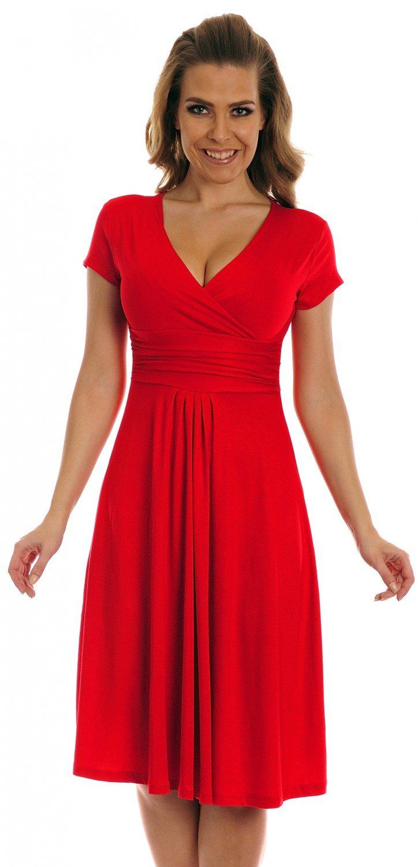 Glamour empire womens knee length short sleeve jersey