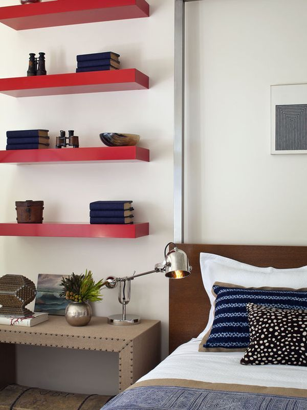 Floating shelves. Brilliant use of otherwise dead space above a ...