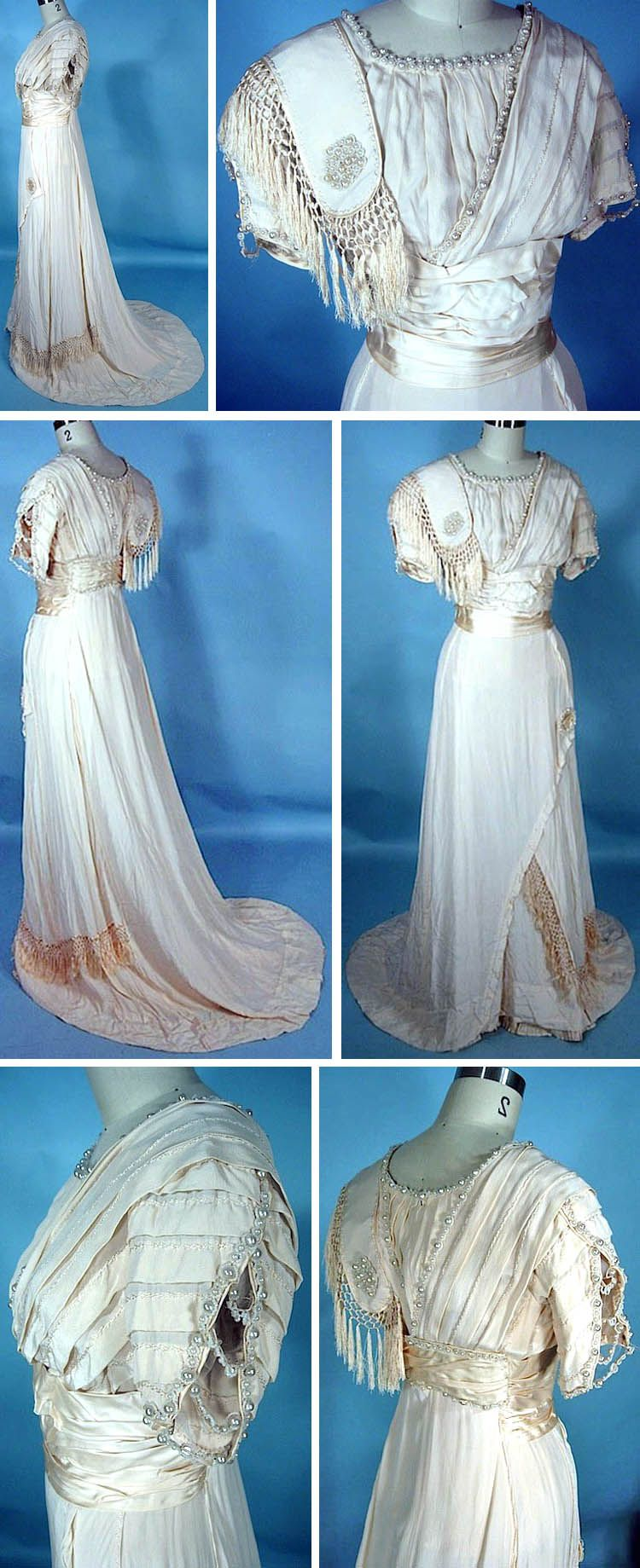 Wedding gown ca ivory silk crepe with fringe and pearl trim