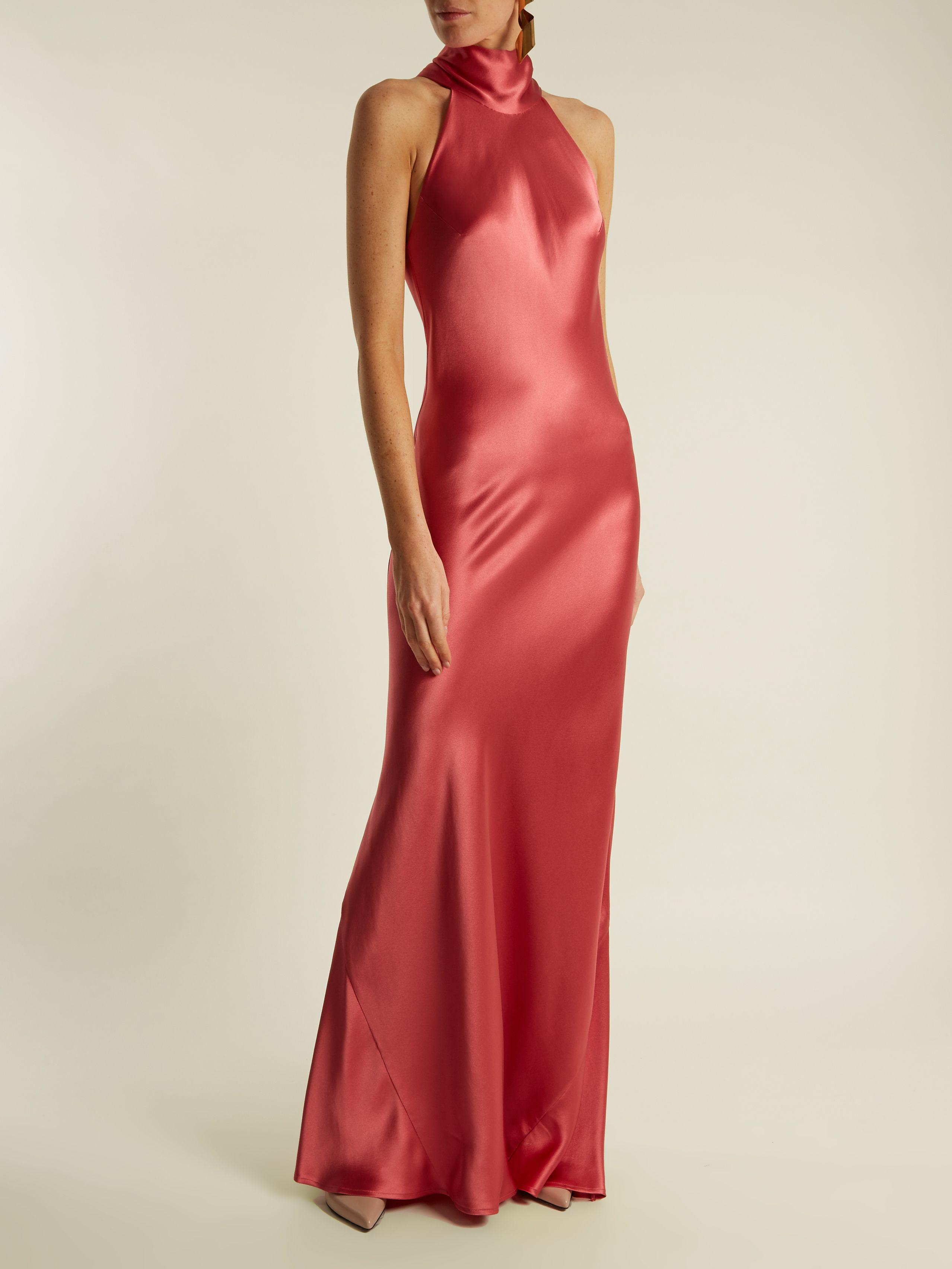 Latest Galvan Pink Silk Halterneck Evening Dress For Women Selling Well
