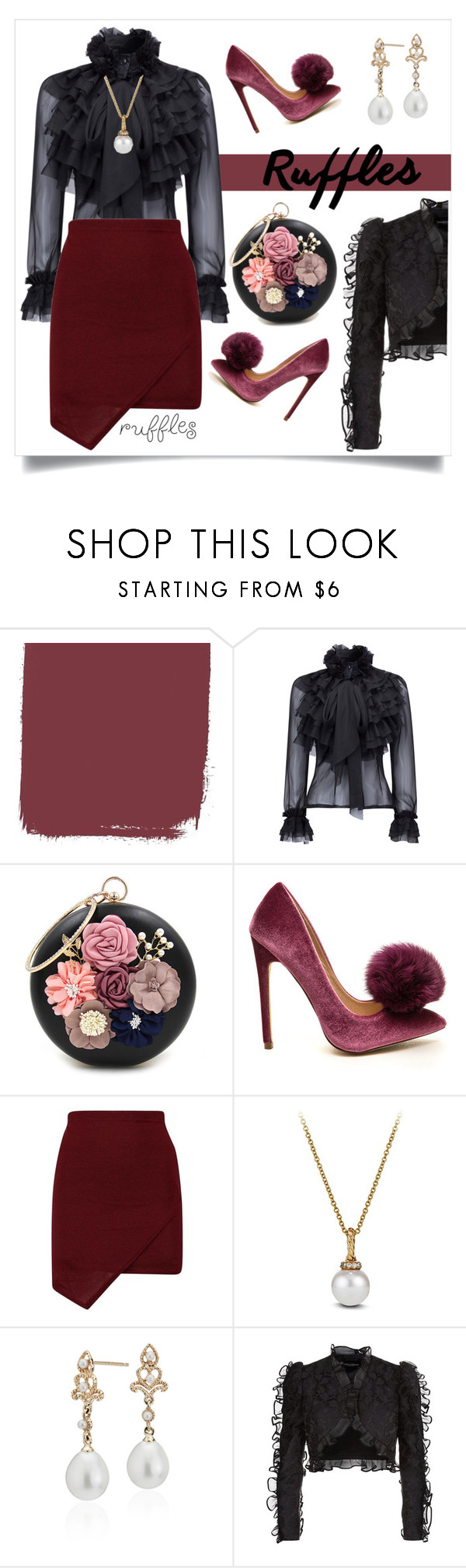 """""""#ruffles"""" by liligwada ❤ liked on Polyvore featuring WithChic, David Yurman, Blue Nile and Dolce&Gabbana"""