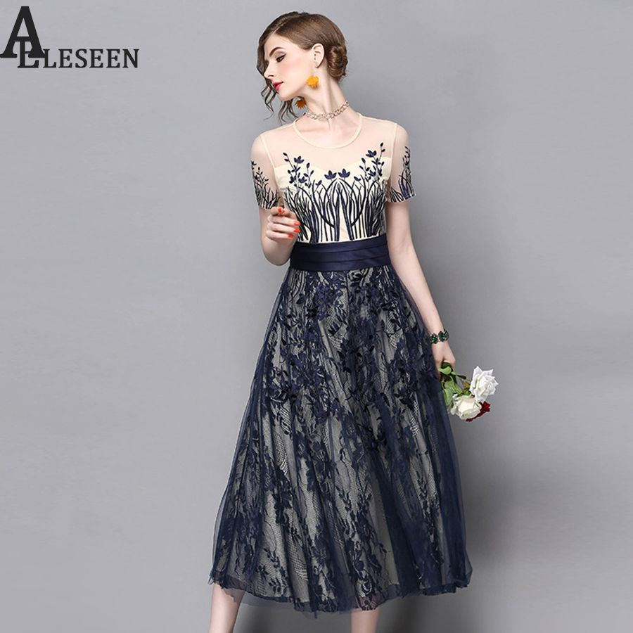 Designer dresses summer mesh floral embroidery elegant short sleeve