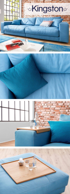 Modernes Ledersofa modernes ledersofa kingston in hellblau mit komfortabler