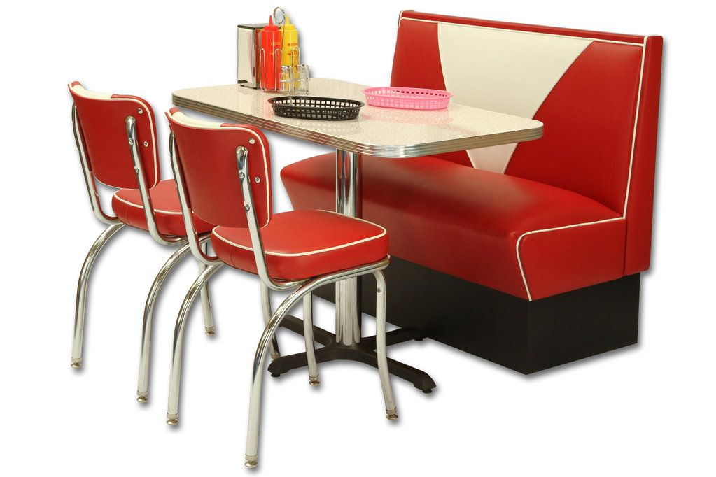 American Retro Diner Set Vintage Booth 2 Retro Diner Chairs 1