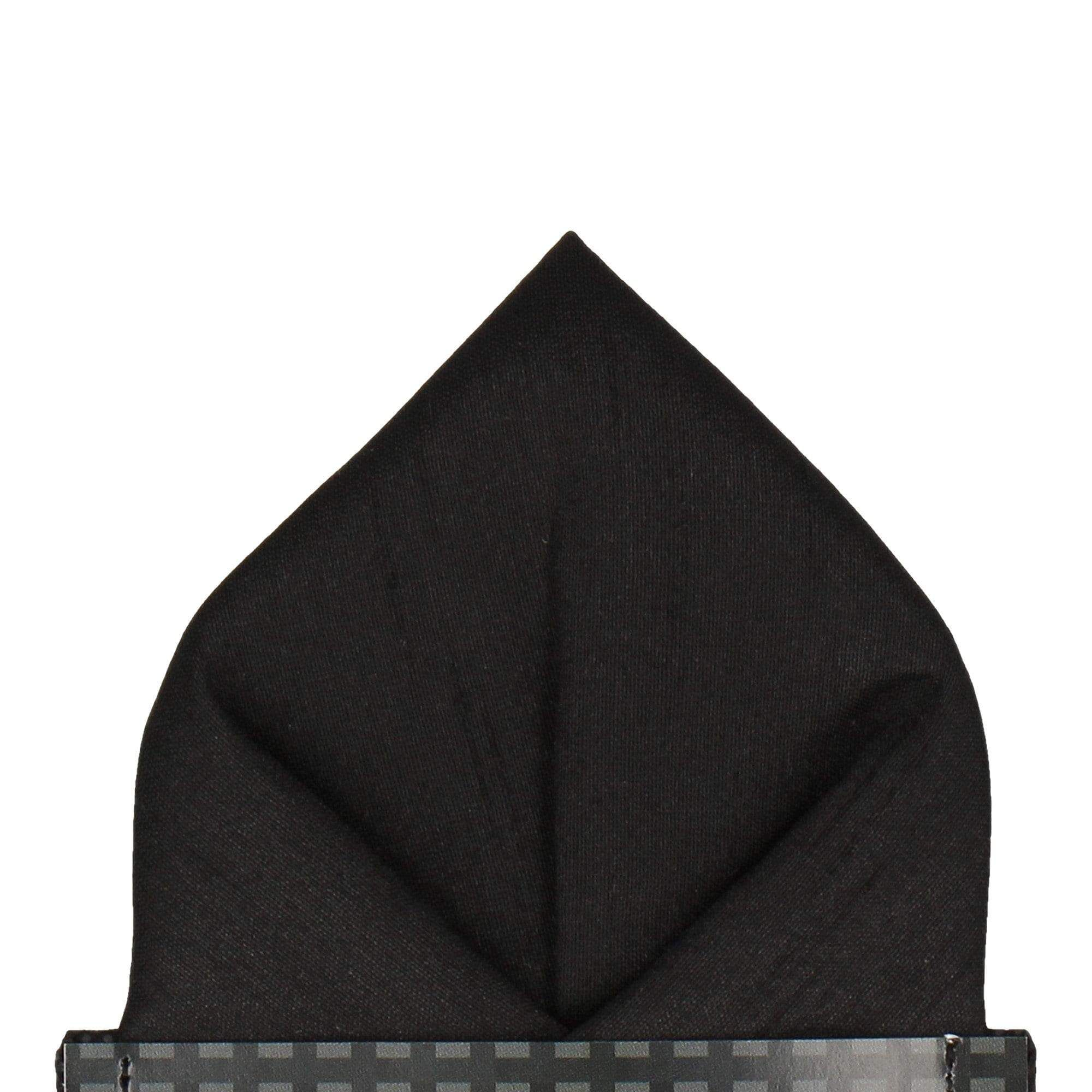 Black Faux Silk Pocket Square