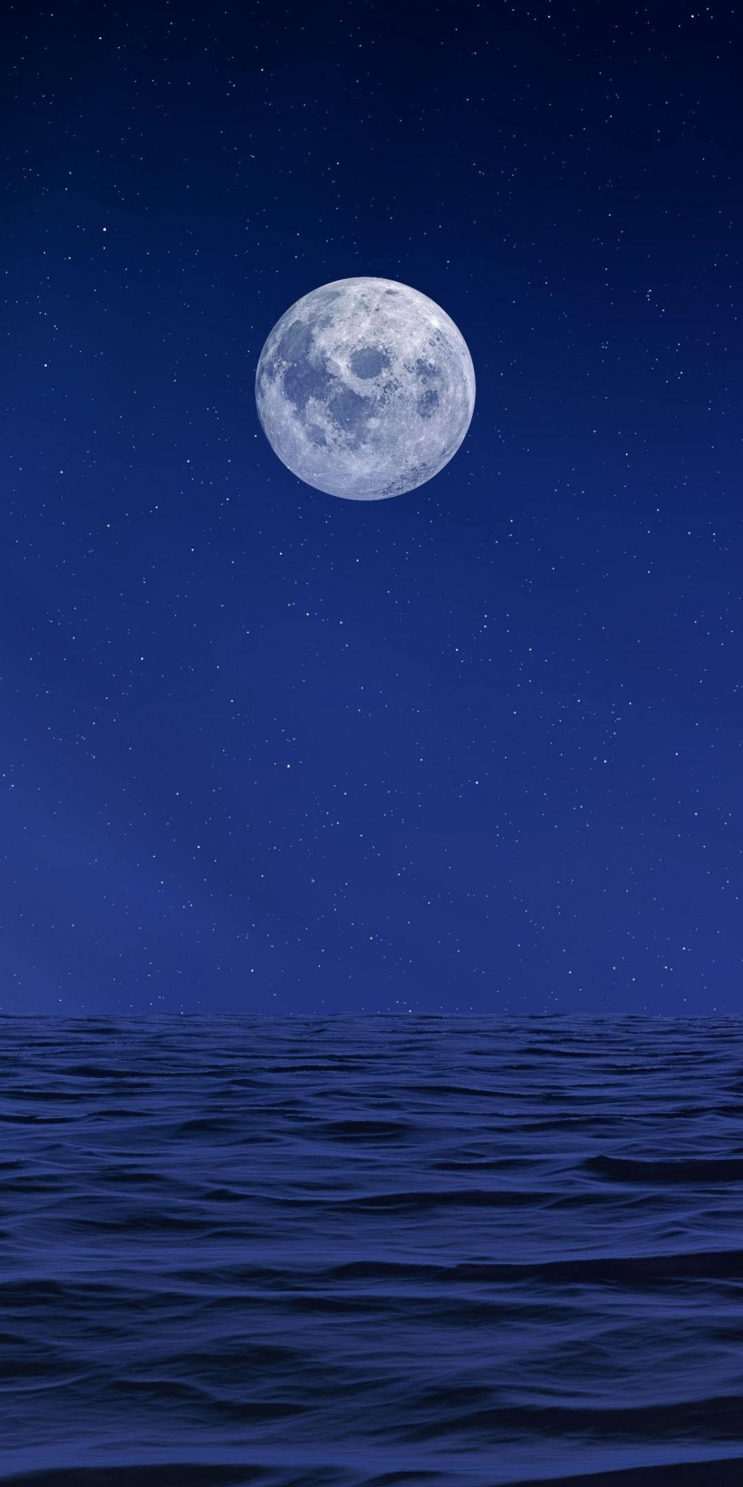 Moon Body Of Water Sea Night Artwork 1080x2160 Wallpaper