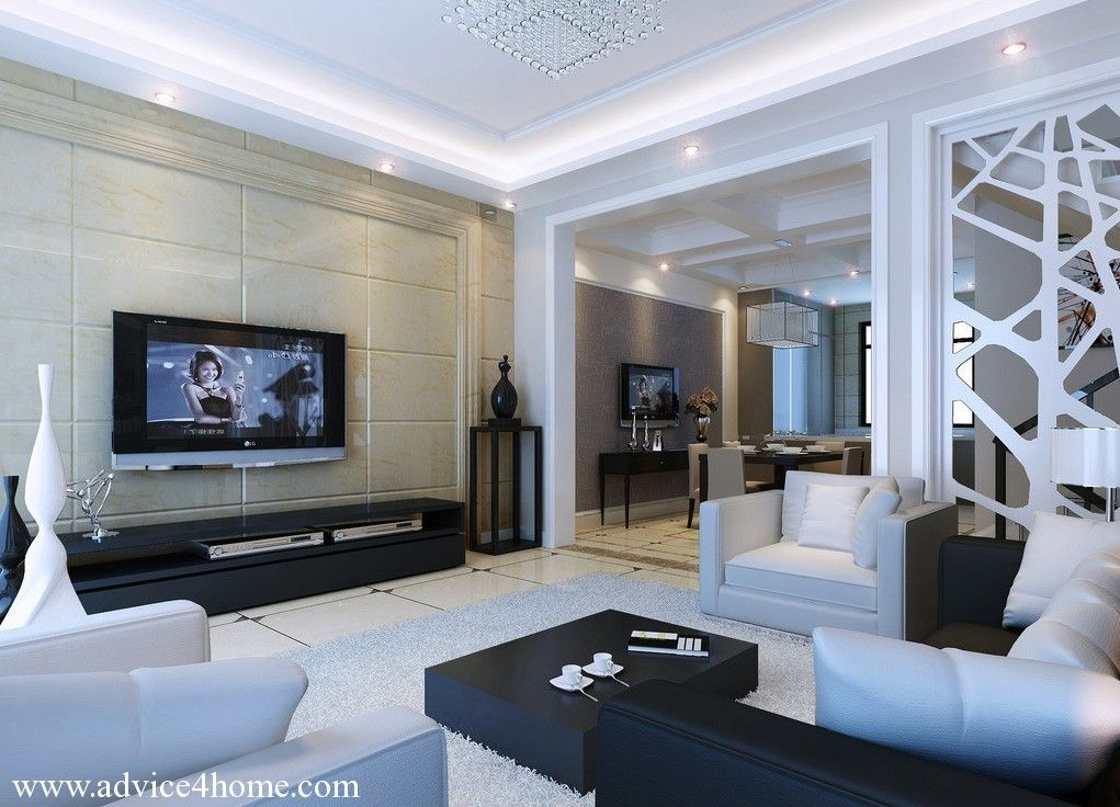 white pop ceiling and latest lighting and white-black sofa set ...