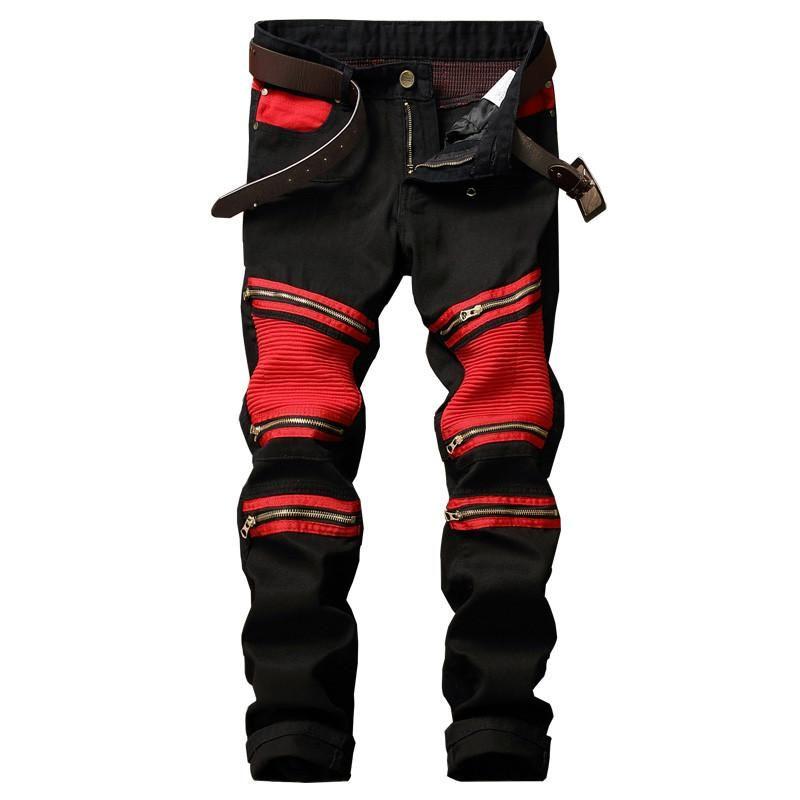 91173adeeb9fa GMANCL Designer Men Biker Denim Joggers Pleated Motorcycle Jeans Pants Man  Strentch Rap Jean Trousers Multi Zipper Red Patchwork