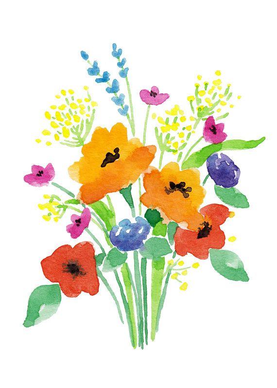 Watercolor Flower Bouquet, Art PRINT, 5\