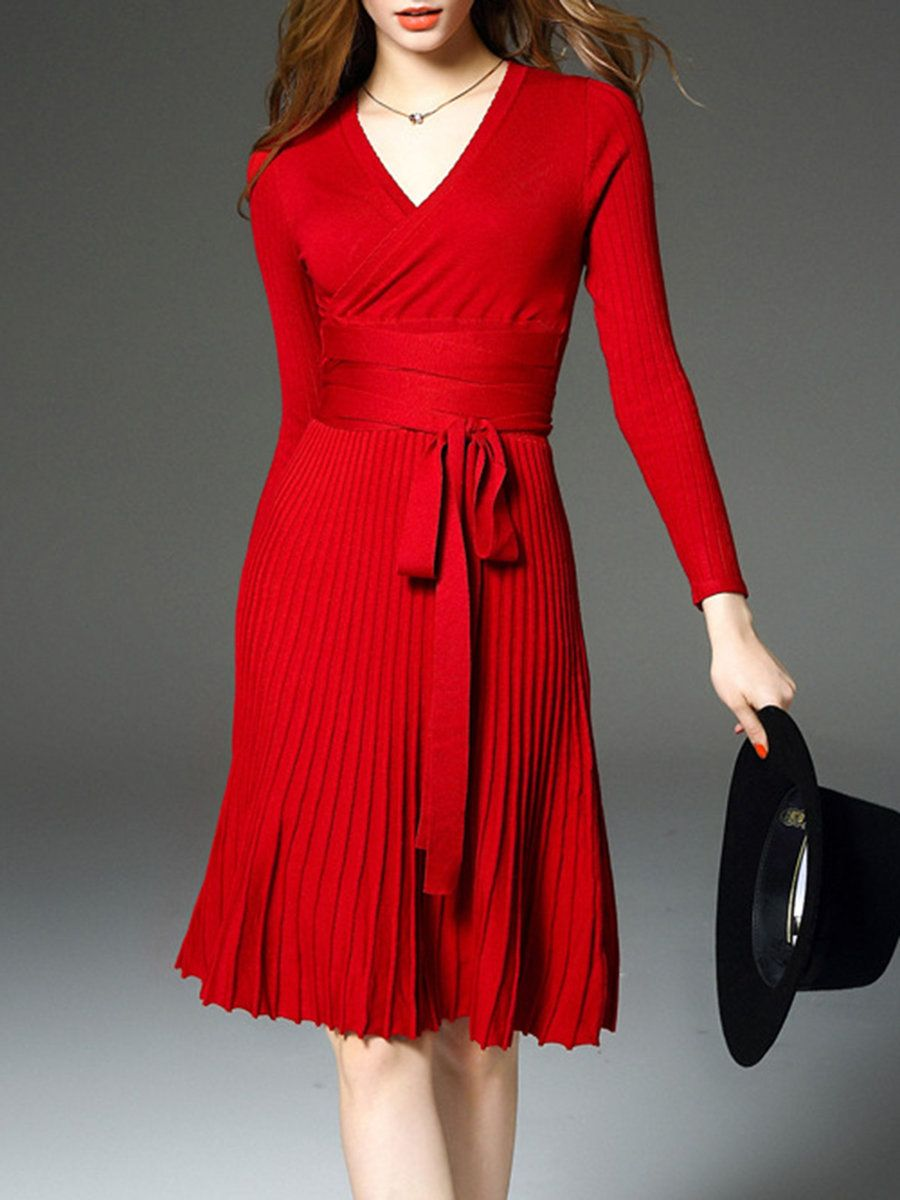 Jianshan Red Long Sleeve V Neck Plain Wrap Dress Adorewe Com Knit Midi Dress Wrap Dress Classy Dress [ 1200 x 900 Pixel ]