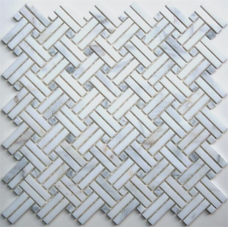 Lyric Naturals White Grey Marble Diagonal Basketweave Pattern Basket Weave Tile Mosaic Tile Supplies Mosaic Shower Tile