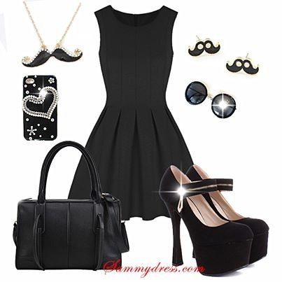 Cute black mini with funny details/additions. Semi formal.