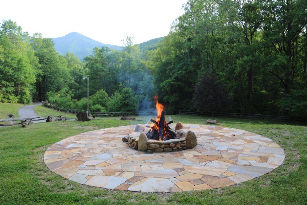 River Rock Fire Pit | Backyard, Backyard landscaping, Fire ...