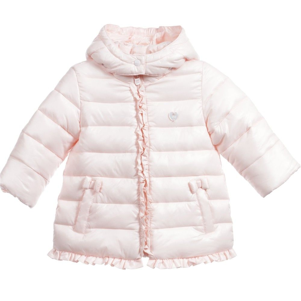 0366aa6e554e Baby Girls Pink Puffer Jacket with Frills