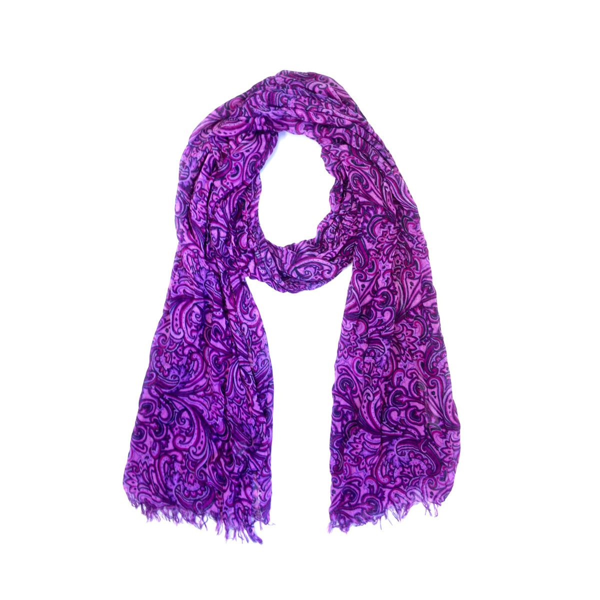 Oversized Paisley Scarf Purple