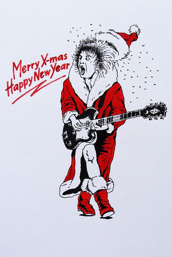 Hand Drawn Christmas Card Rock Xmas Ac Dc Rock 39 N 39 Roll How To Draw Hands Christmas Fun Christmas Cards