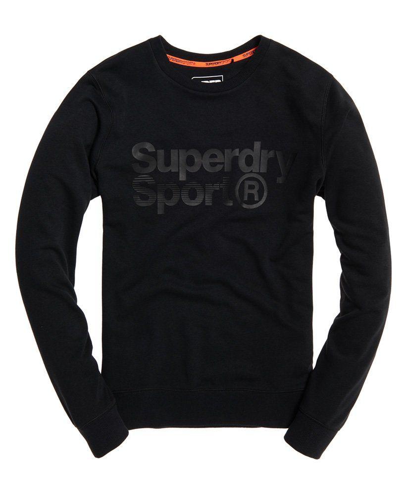 Mens Core Sport Crew Sweatshirt In Black Superdry Mens Sweatshirts Hoodie Sweatshirts Hoodies Men [ 1000 x 820 Pixel ]
