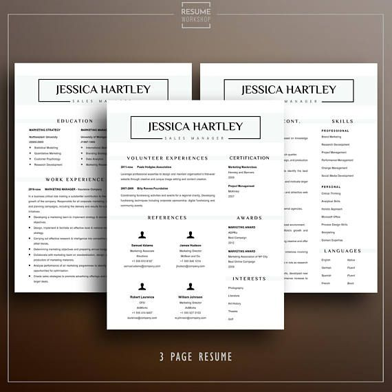 Professional Resume Template - Jessica - Sample Resume Format - 3 page resume