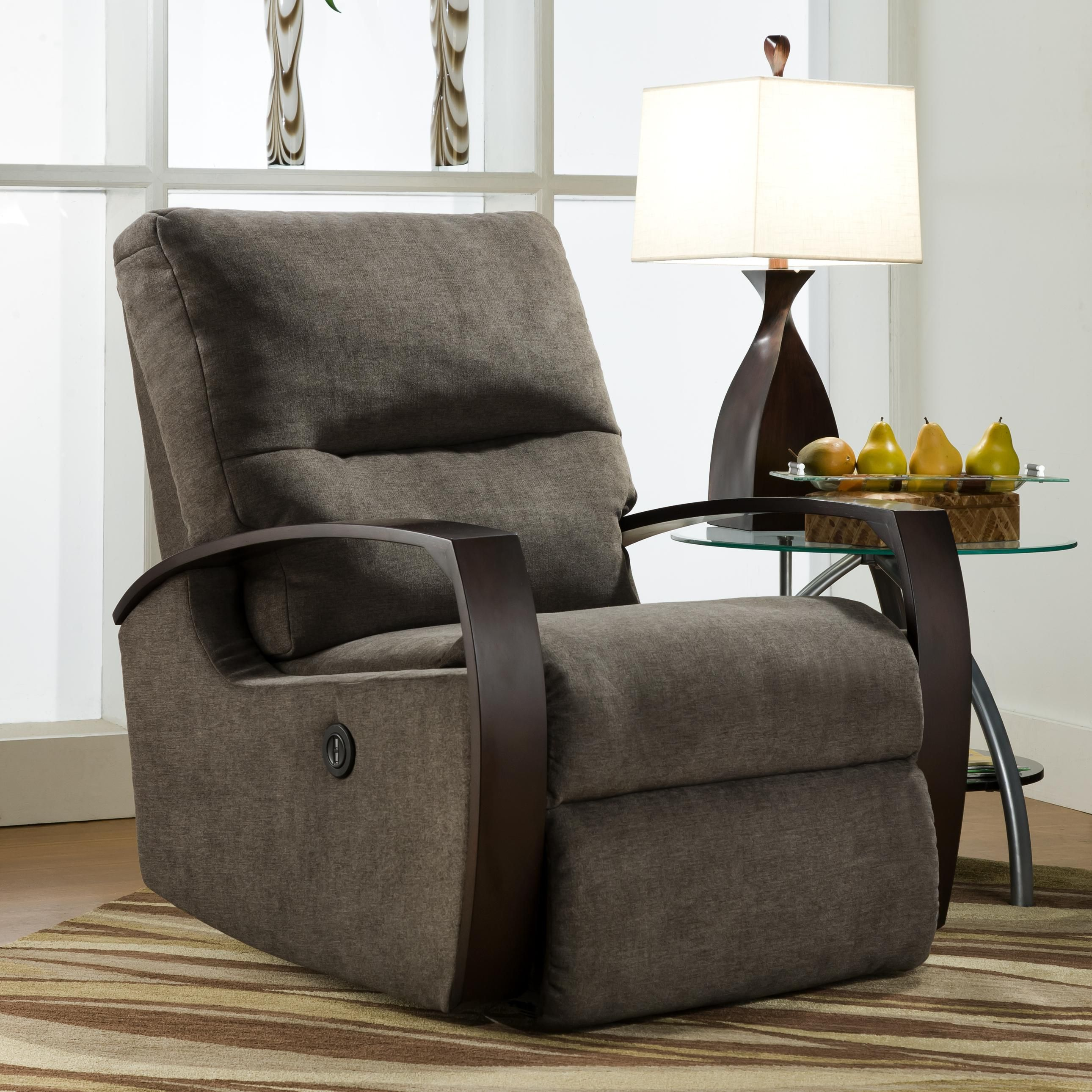 Rocker Recliner With Wooden Arms By Southern Motion