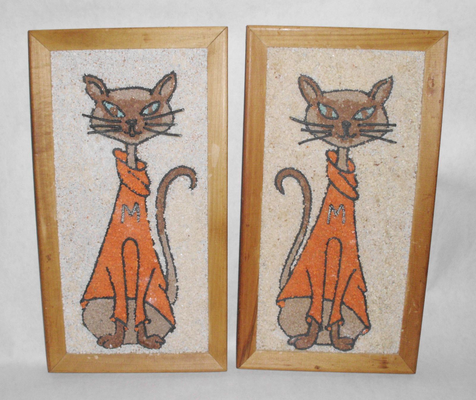 Fab 60s Artwork: Pebble Art Cats In Orange Turtlenecks! So Mid-'60s Fab