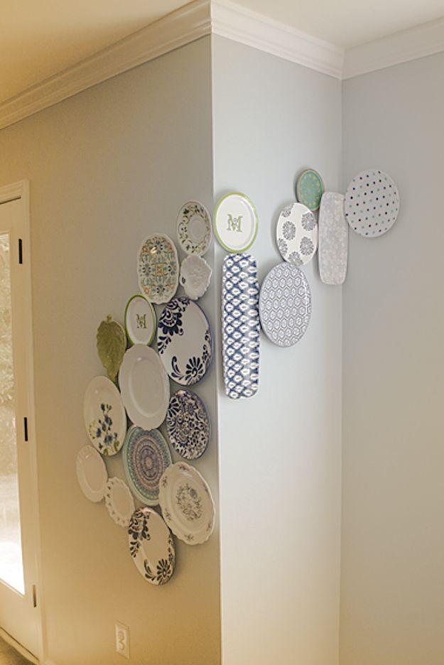 Wall Decor Plates Hang Wall : Cool cheap but diy wall art ideas for your walls