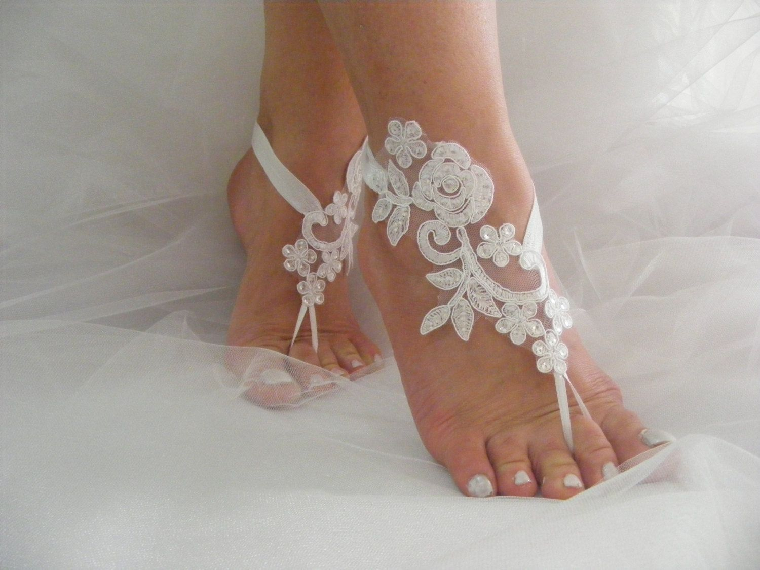 Wedding Shoes White Sequined Lace Barefoot Sandals Beach Wedding