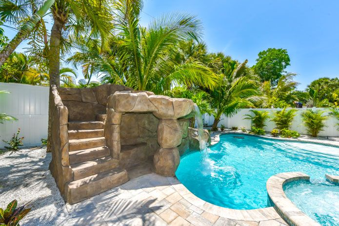 Backyard Pool In Siesta Key Fl Vacation Rental With Rock Slide