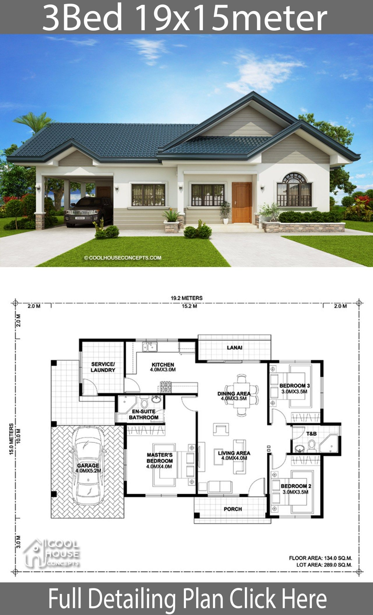 Home Design Plan 19x15m With 3 Bedrooms Architectural House Plans Model House Plan Bungalow House Design