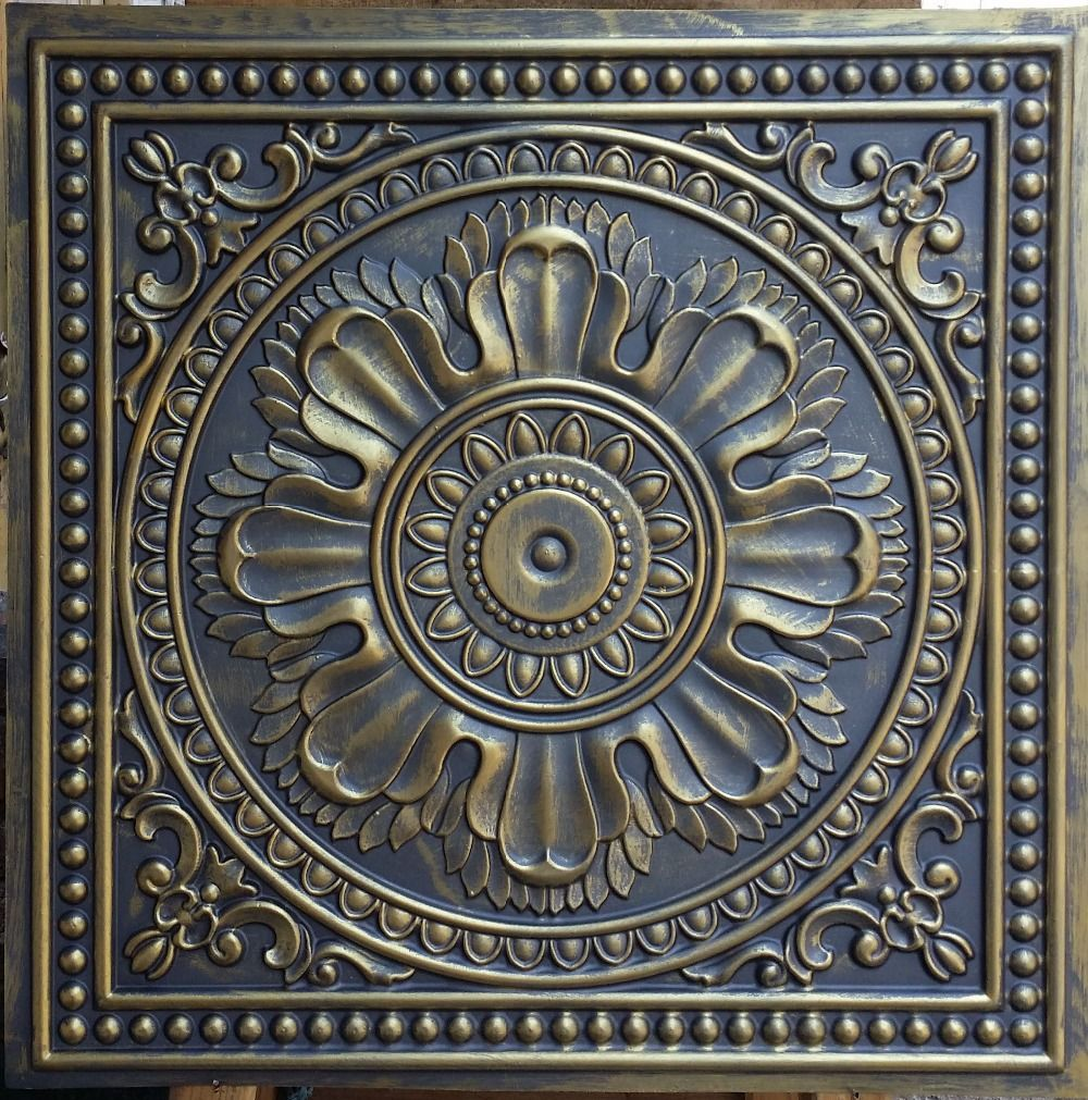 Tile Decorative Pl17 Faux Tin Ceiling Tiles Ancient Gold Color 3D Embossed Cafe