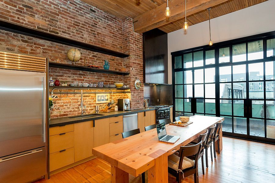 50 Trendy And Timeless Kitchens With Beautiful Brick Walls Elegant Kitchen Design Industrial Kitchen Design Urban Industrial Decor