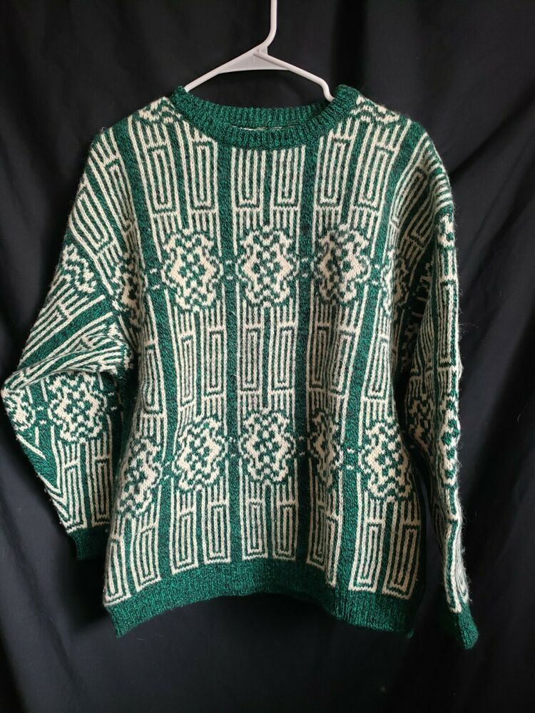 Benetton Green Wool Sweater Vintage 80s 90s Size Large