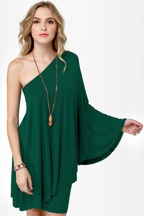 28ae5589b350 love the dress ,but thinking that not every one can wear green.. this  model-girl is quite simple One Shoulder Dress - $59.00