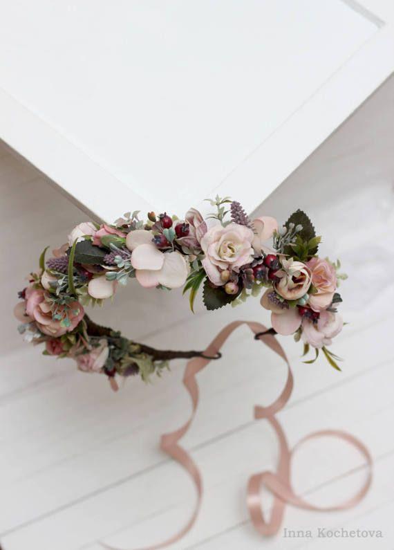 Wedding flower crown Bridal floral crown Floral wedding crown Wedding flower headpiece Dusty rose flower crown Rustic wedding