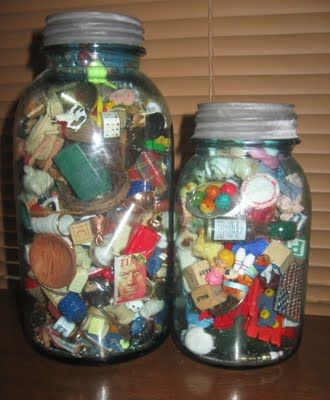 Jars of miniatures... When I was a kid and I was digging in the dirt all day, this is what I was hoping to find.