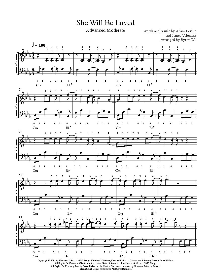 She Will Be Loved By Maroon 5 Piano Sheet Music Advanced Level