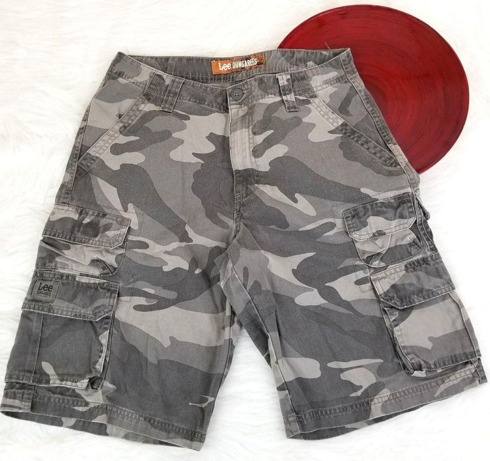 862ada8477 Lee Dungarees Mens Cargo Shorts Size 29 Gray Camo Camouflage o969 #Lee # Cargo