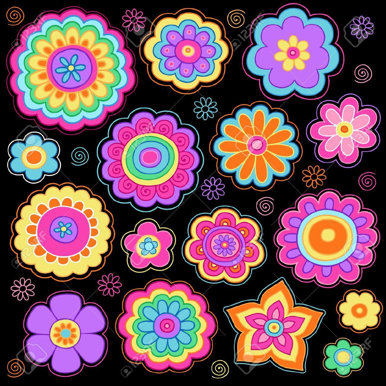 Flower Power Groovy Psychedelic Hand Drawn Notebook Doodle