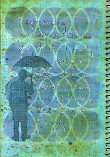 """My Journal - """"Rescue""""  Used my own stencil, a crafters template stencil, distress ink and stains, prima stamp and stampers anonymous stamp"""