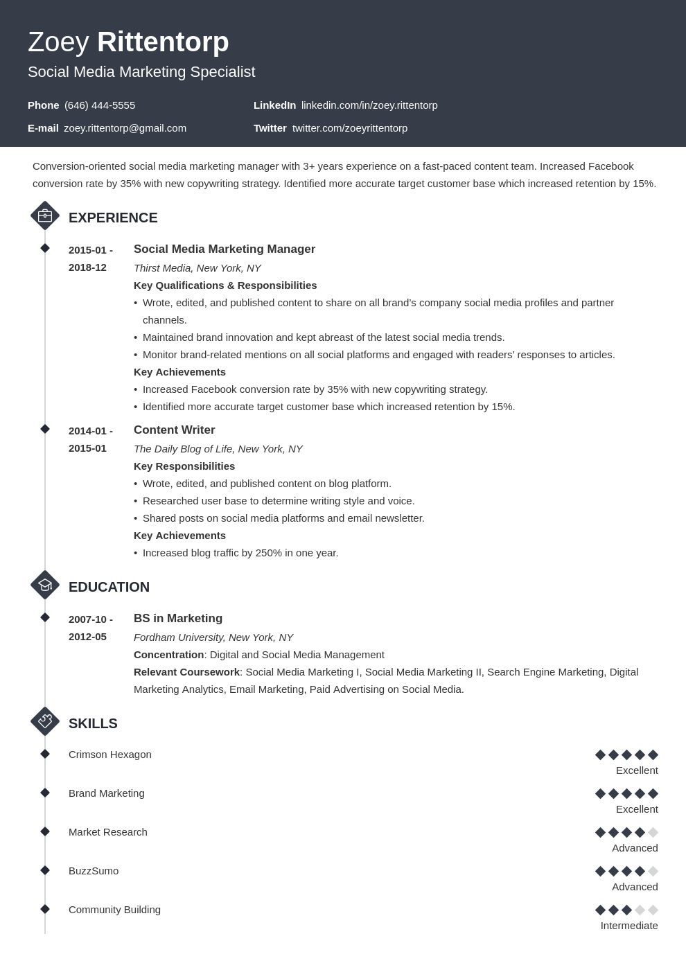 Social Media Resume Example Template Diamond Resume Examples Social Media Marketing Manager Job Resume Examples